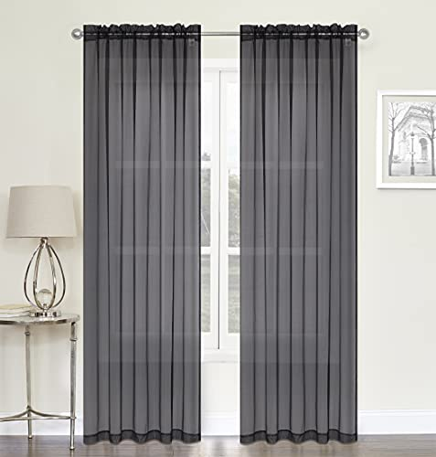 """DFL Sheer Curtains 2 Pack - Curtain Rod Pocket Sheer Window Curtains - Sheer Curtains 104"""" X 84 inches Long - Assorted Colors & Sizes Window Curtain Panels (Black)"""