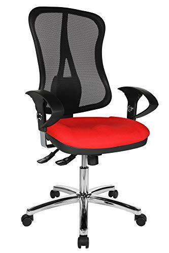 Topstar Head Point SY Deluxe, ergonomischer Bürostuhl, Schreibtischstuhl, inkl. Armlehnen, Stoff, rot/schwarz
