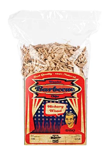 Axtschlag Räucherchips Hickory, 1000 Gramm sortenreine Räucherspäne für besondere Rauch- und Geschmackserlebnisse, für alle Grills