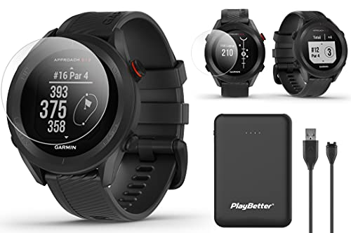 Garmin Approach S12 GPS Golf Watch Bundle | Includes PlayBetter Portable Charger & HD Screen Protectors | Sunlight-Readable Display, 42,000+ Courses | Golf Watch for Men 2021 | Black, 010-02472-00