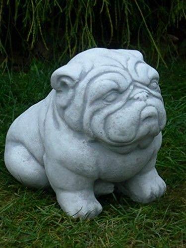 Unbekannt Tierfigur Gartenfigur Deko Figur Hund Bulldogge H 22 cm Hundefigur aus Beton Gartendeko Garten Dekofigur Gartenskulptur