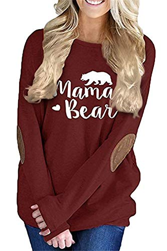 onlypuff Mama Shirts for Women Red Casual Loose Tops Long Sleeve Pocket T Shirt Red M