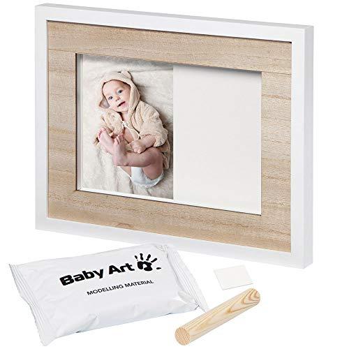 Baby Art - Foto Bilderrahmen zum Aufhängen mit Gipsabdruck Set für Baby Fußabdruck oder Handbadruck zum Selbermachen, white wood