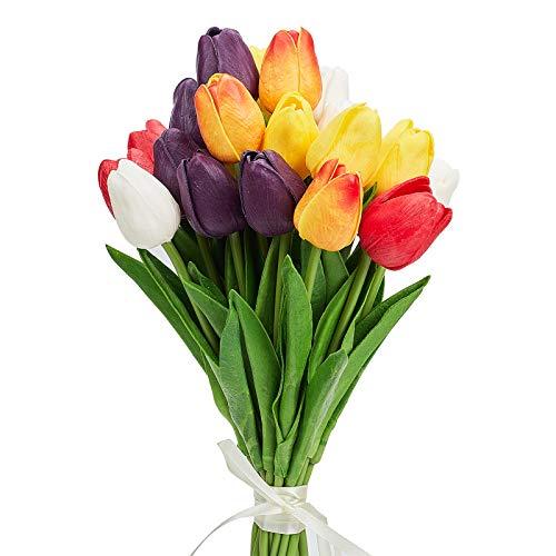 AHANDMAKER Flores Artificiales de Tulipán, 25 Uds, 5 Colores, Tulipanes Artificiales de Tacto Real, Flor para Arreglo, Ramo, Centro de Mesa para Habitación En Casa, Decoración para Fiestas Y Bodas