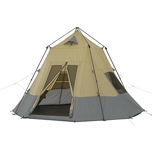 Spacious,Durable and Easy to Set up Ozark Trail 12' x 12' Instant Tepee Tent, No Assembly Required: Poles Pre-attached to Tent,Sleeps 7,Great for Camping,Hiking and other Outdoor Activities