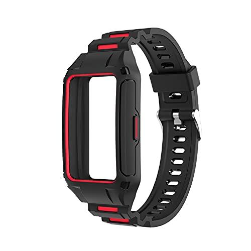 GHBOTTOM Correa de silicona compatible con Huawei Band 6, resistente al agua, duradera, reloj inteligente de moda, pulsera deportiva de silicona, reloj para hombres y mujeres, pulsera inalámbrica