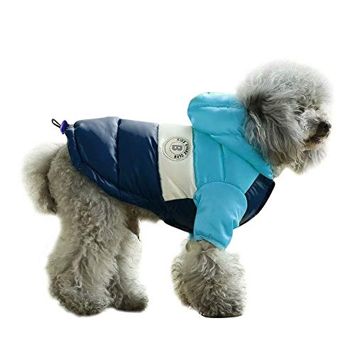 """PET ARTIST Dog Winter Coat Hoodie Snowsuit Apparel with Leash Hole - Waterproof Windproof Hooded Dog Cold Weather Coat for Chihuahua,Yorkie,Poodles,Shih tzu,Mini Pinscher, Blue/Navy,Chest 14.5""""(37cm)"""