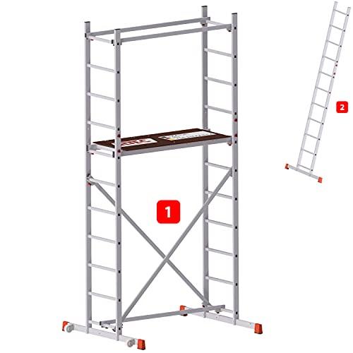 ALTEC AluCombine® 400   Alu Leiterngerüst   4m Arbeitshöhe, 2 in 1 Gerüst & Leiter   Made in Germany   EN 131   Gerüst   Arbeitsgerüst   Baugerüst   Fahrgerüst   Anlegeleiter