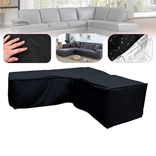 Bureze Forme de l Noir Canapé Meubles couvertures Coque Sac Protection étanche de Jardin en rotin