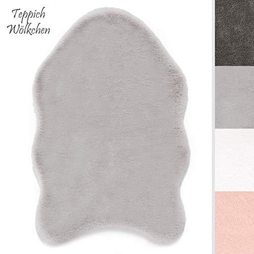 Kurzfell-Teppich Kunstfell Hasenfell Imitat | Wohnzimmer Schlafzimmer Kinderzimmer | Als Faux Bett-Vorleger oder Matte für Stuhl Hocker Sofa (Grau, 55 x 80 cm)