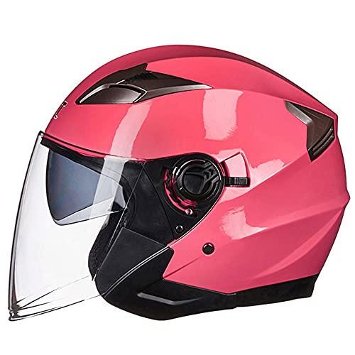 Tazyee Casco Moto Jet Abierto - Casco Scooter Vintage Moto Baratos con Doble Visera, ECE Homologado Casco de Scooter Moto para Mujer Hombre Adultos, M~XL