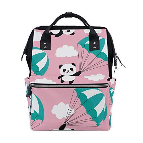 Süßer Panda mit Fallschirm-Rucksack, Windeltasche für Mama, Frauen, Baby-Windeltasche, Reiserucksack, große Schule, Laptop, Wandertasche