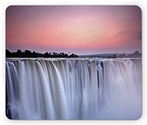 Wodospad podkładka pod mysz, Grand Majestic Waterfalls Zobacz o zachodzie słońca w Afryce Wild Mist Exotic Land Photo, standardowy rozmiar prostokąt nie poślizgowy gumowy podkładka pod mysz, biały różowy