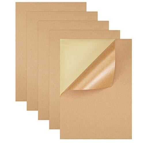 50 Hojas Papel de Etiquetas Kraft A4, Papeles Adhesivos Kraft A4, Papel de Impresión de Etiquetas Autoadhesivas, para Láser, Impresión de Inyección de Tinta, Fabricación de Etiquetas Artesanales