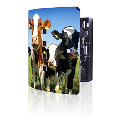 banjado Design Schlüsselkasten aus Edelstahl | 10 Haken für Schlüssel | praktischer Magnetverschluss | 24x21,5cm Motiv Kühe