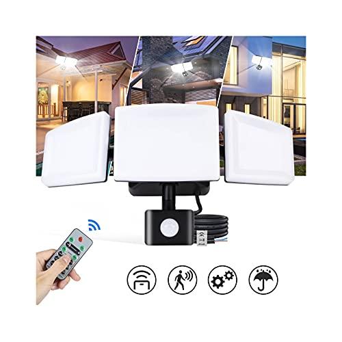 FOMYHEARD LED Strahler mit Bewegungsmelder Außen 3 Köpfe 4200LM Lampe mit Bewegungsmelder Aussen mit Fernbedienung IP65 Wasserdicht 6500K Kaltweißes Licht Einstellbare Helligkeit