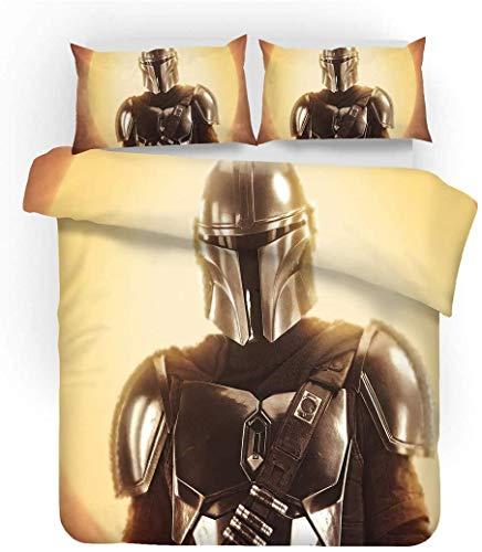QWAS Juego de ropa de cama de la serie Star Wars de 100% microfibra, funda nórdica infantil con dibujos animados, juego de 3 piezas (A7,135 x 200 cm + 50 x 75 cm x 2).