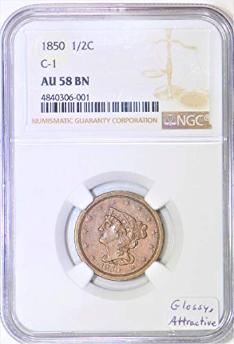 1850 P Braided Hair C-1 Half Cent AU-58 BN NGC