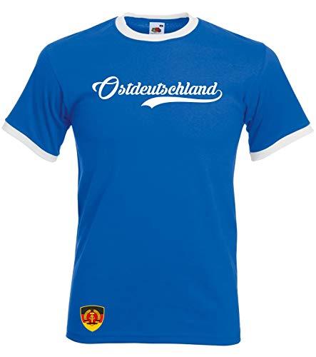 Aprom DDR Ringer Retro TS Deutschland WM EM Soccer T-Shirt Trikot Look RET DDR (L)