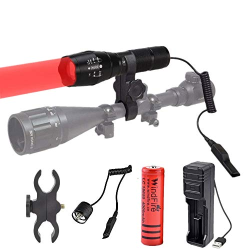 Red Light Torch LED Hunting Torch 1000 Lumen Adjustable Focus Tactical Flashlight Coyote Varmint Hunt Torches with Scope Mount Pressure Switch for Night Vision Hunting Astronomy