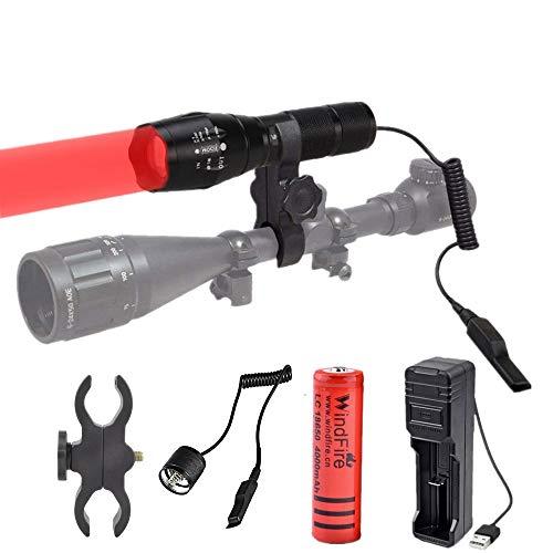 Linterna de Luz Roja, Antorcha de Caza LED 1000 Lúmenes, Foco Ajustable, Linterna Táctica Caza Coyote Varmint con Interruptor de Presión y Batería, para Visión Nocturna, Caza, Astronomía