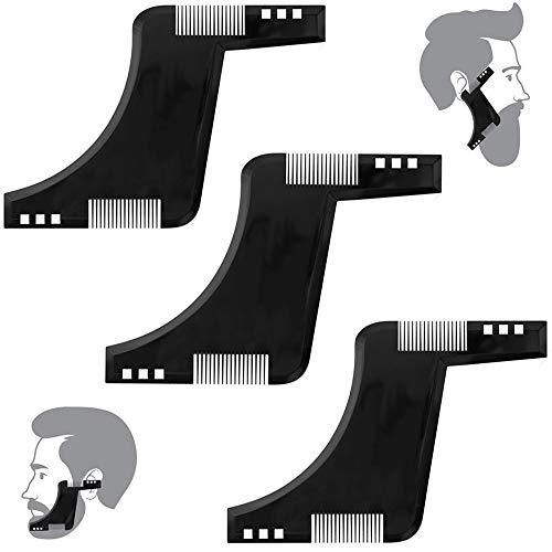 3 Piezas Peine Para Estilo de barba, Modelado de barba Plantilla, Peine de Barba Plantilla de Barba, úselo con una herramienta Trimmer Template e Plantilla de Recorte, para hombres