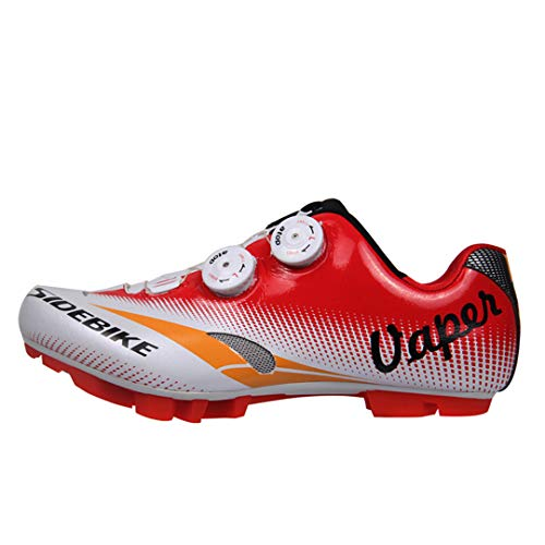 JIMAITEAM Professionelle Fahrradradschuhe MTB Mountains Bike Leichte Fast Tuning Knob Schnürung Racing Self-Locking Schuhe Red 12