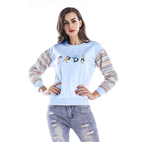 Mujeres Plus Terciopelo Engrosamiento Color a Juego suéter de Manga Larga Personalidad Blusa de Cuello Redondo Women-Blue_XXL