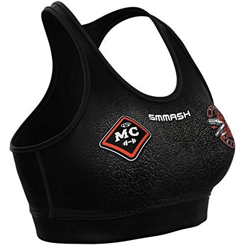 SMMASH Biker Sujetador Deportivo Mujer, Top Deportivo Mujer Fitness, Yoga, Formación, Sport Bra, Material Transpirable y Antibacteriano, (M)