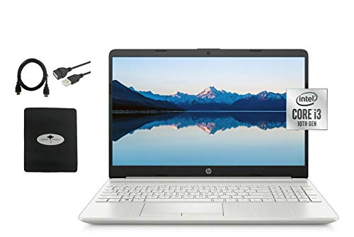 "2021 Newest HP 15.6"" HD Flagship Laptop, 10th Gen Intel Core i3-10110U(Up to 4.1GHz, Beat i5-8250U), 16GB RAM, 256GB SSD, Webcam, WiFi, HDMI, Ethernet, Fast Charge, Win10 S, w/Ghost Manta Accessories"