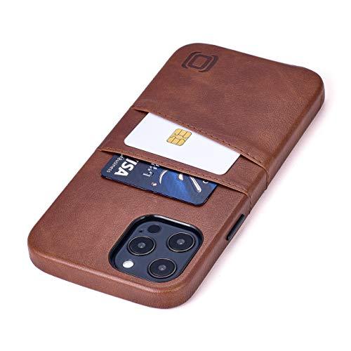 Dockem Exec M2 Funda Cartera para iPhone 12 Pro MAX: Funda Tarjetero Slim con Placa de Metal Integrada para Soporte Magnético: Serie M [Marrón]