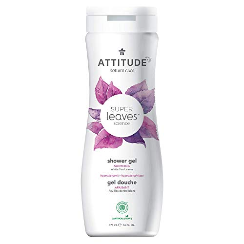ATTITUDE Super Leaves, Hypoallergenic Body Wash, White Tea Leaves, Soothing 16 Fl Oz