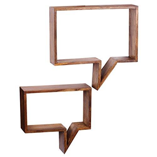 WOHNLING 2er Set Wandregale Massiv-Holz Sheesham Holz-Regal Landhaus-Stil Höngeregal Echt-Holz Design Wand-Board Natur-Produkt Wandkonsole dunkel-braun unbehandelt Regale zum Aufhöngen Unikat Ablage
