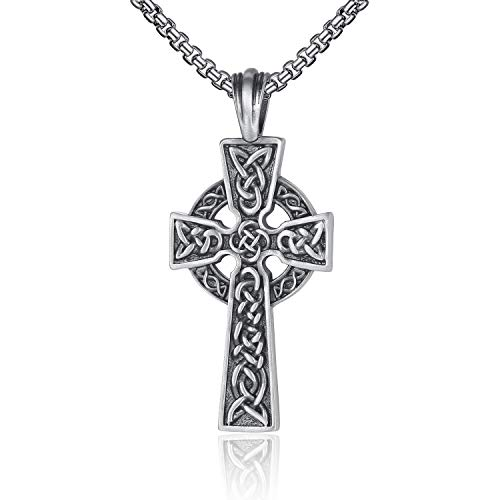 EVBEA Mens Necklace Viking Celtic Irish Knot Serenity Prayer Pendant Crucifix Men Jewelry with Black Genuine Leather Cord Chain Curb Link