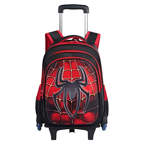 LINLIN Iron Man Childrens Trolley Backpack, Boys Spiderman Luggage Suitcase with 6 Wheels for Short Breaks, Holidays, sleepovers and School Trips,Red