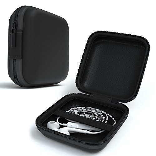 EAZY CASE Universal Tasche für In-Ear Kopfhörer mit Netzfach - Hardcase Aufbewahrungsbox, Schutztasche mit umlaufenden Reißverschluss, extra klein, eckig, Schwarz