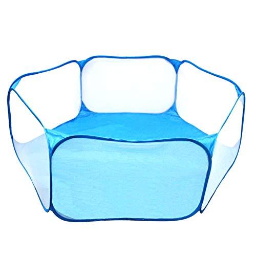 Whiie891203 Kinder-Haustier-Spielzelt, Kinderspielzelt Spielzeugkugeln Pool-Baby-Spielzaun Kleines Haustier-Kaninchen-Igelkäfig Blau