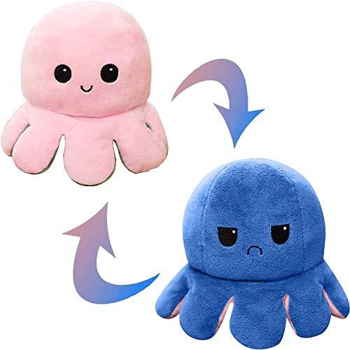 Wendbare Oktopus-Puppe, Plüsch, weich, doppelseitige Flip-Oc-topus-Puppe, Kuscheltier-Geschenk für Kinder, Familie, Freunde, kreatives Spielzeug (Rosa/Blau)