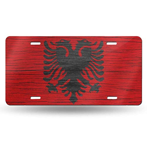 Anwei Wooden Texture Albanian Flag Novelty Car 6x12 Aluminum Front Vehicle License Plate Frame Vanity Tag Sign