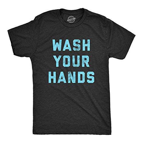 Mens Wash Your Hands Tshirt Funny Virus Protection Novelty Advice Tee (Heather Black) - L