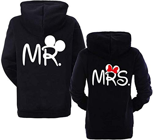 Pareja Sudadera con Capucha King Queen Mr Mrs Hoodie - 1x Suéter Mujer Negro M
