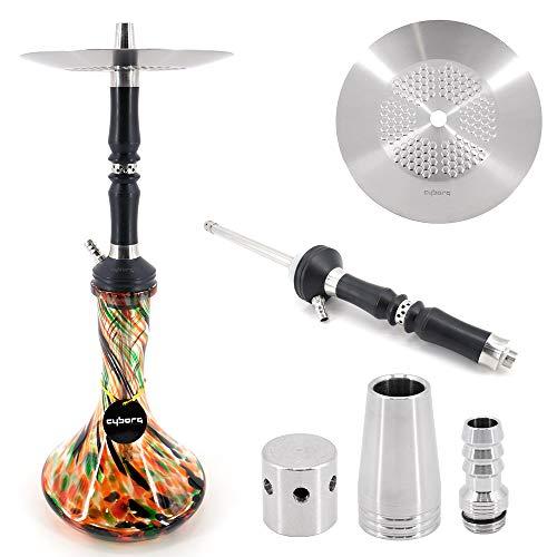 Cyborg Hookah Anima Shisha Flowerpower - Stecksystem - 1-Schlauch Wasserpfeife Russia Premium Pipe - Höhe ca. 56 cm - Edelstahl und Aluminium