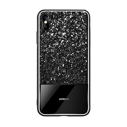 weishan Caso Estuche Protector de Cristal Templado Dropproof a Prueba de choques del Polvo Brillante for el iPhone XR (Color : Black)