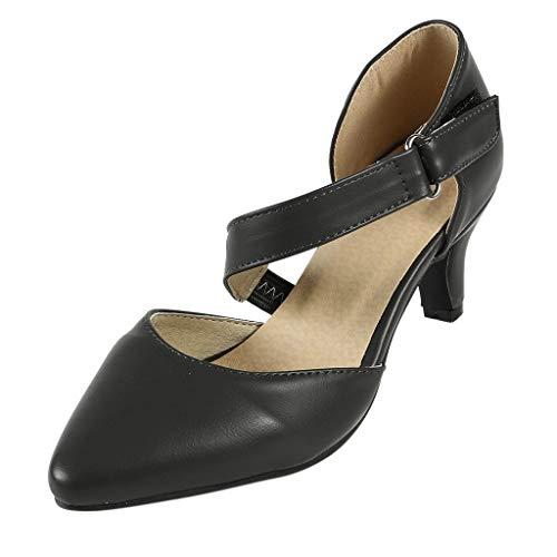 iYmitz Sommer Damen Basic Spitz Pumps High Heel Schuhe mit Schnalle(Schwarz,EU-36)