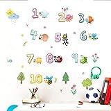 Wandaufkleber Cartoon Tiere Insekt Zahlen Wandaufkleber Für Kinderzimmer Einrichtungsgegenstände Wandtattoos Zubehör PVC Wandbild