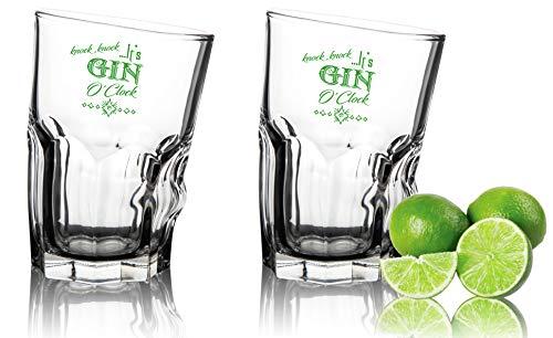 Knock It's Gin o' Clock - Juego de 2 vasos de ginebra (35 cl)