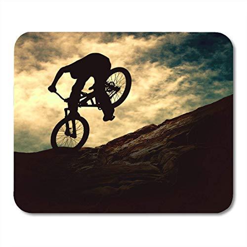 Mauspads outdoor sport silhouette des menschen auf muontain bike sunset extreme mountain mouse pad für notebooks, Desktop-computer mausmatten