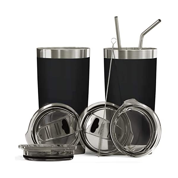 Double Wall Stainless Steel Insulated Tumbler Set, 2-Pack, Includes Sipping Lids,...