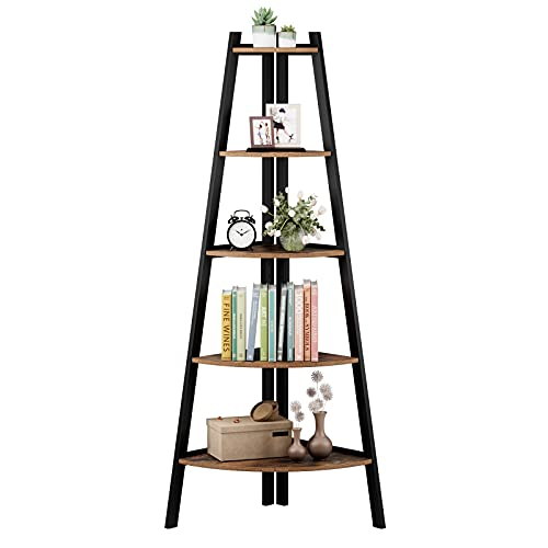 5-Tier Industrial Corner Ladder Shelf, A-Shaped Bookcase Utility Display Organizer Plant Flower Stand Storage Rack, Wood Look Accent Metal Frame Furniture Home Office, Vintage
