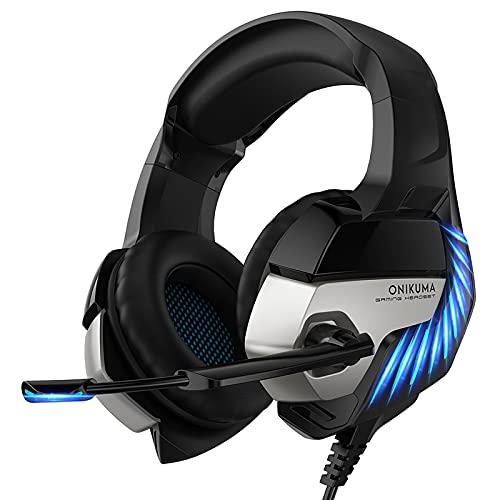 ONIKUMA Auriculares Gaming para PS5/PS4/Xbox One/Nintendo Switch/PC/Mac Cascos Gaming con Micrófono Gaming Headset con LED Luz para Laptop